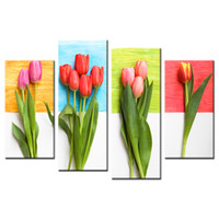 Wholesale tulips flower cartoon - Tulip Flower HD Picture Printed on Canvas Modern Canvas Printing Artwork Home and Office Decorative Canvas Painting 5 Panels
