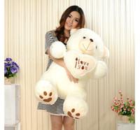 ich liebe große spielsachen großhandel-Großhandels-90 cm Schöne HugeTeddy Bear Giant Big Toys Gefüllte Plüschtiere halten das Herz Bär Ich liebe dich Puppe Valentine Geschenk für Mädchen