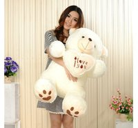 Wholesale Giant Plush Lovely Bear - Wholesale- 90 cm Lovely HugeTeddy Bear Giant Big Toys Stuffed Plush Animals Hold The Heart Bear I love You Doll Valentine Gift for girl