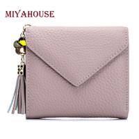 Wholesale Mini Coin Envelopes - Miyahouse Genuine Leather Female Mini Wallets Women Tassel Pendant Short Money Wallets Leather Lady Envelope Card Holder Purse