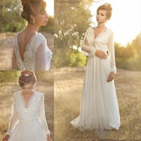 Wholesale Cheaper Lace Wedding Dresses - 2017 Simple Beach Wedding Dresses Sexy Long Sleeves V-Neck Wedding Dresses For Summer Cheaper Bride Gown