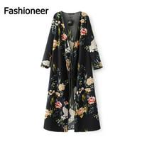 Wholesale Retro Kimono - Fashioneer Kimono For Woman Retro Black Cardigan Printed Flower Long Sleeve Sashes Loose Beach S-L Size Shirts Blouse For Women Lady