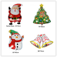 Wholesale Christmas Inflatable Santa Claus - 10PCS cartoon Christmas tree foil balloons Santa Claus helium balloon merry Christmas decoration inflatable classic toys