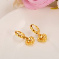 Wholesale Earrings Solid Gold Filled - Exquisite Love Heart Earring Women Birthday Gift Trendy Real 14k Yellow Solid Fine Gold Filled Engagement Wedding Bands Promise Earring