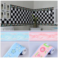 Wholesale Waistline Stickers - Wholesale- 10cm wide*10m PVC self-adhesive wallpaper kitchen bathroom living room baseboard waistline tiled wall stickers waterproof