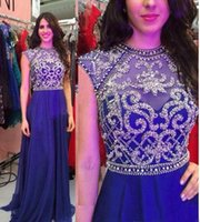 Wholesale Sparkly One Shoulder Homecoming Dresses - Sparkly Beaded Crystals 2016 Pageant Evening Dresses For Teens Royal Blue Chiffon Cap Sleeves Long Formal Homecoming Prom Party Gowns Cheap