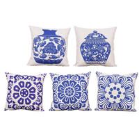 Wholesale Blue White Porcelain Pillow - Biodawn Cotton Linen Home Decoration Decorative Throw Pillow Case Pillowcase Car Sofa Cushion Covers Blue and White Porcelain 45cm x 45cm