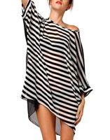 Wholesale Black Twill Jacket - Summer loose chiffon black and white striped beach skirt swimsuit coat blouse bikini beach jacket women fashion dresses