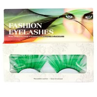 Wholesale Synthetic Feather Extensions - 1 Pair   set of Green Long Feathers False Eyelashes For Prty Makeup or Exaggerated Models Eyelash Beauty Extension Tool