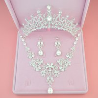 Wholesale Tiara Chain Set - New Fashion Three-piece Bridal Accessories Tiaras Hair Necklace Earrings Accessories Bridal Wedding Jewelry Sets