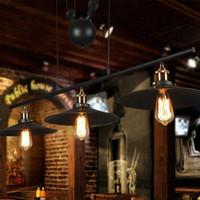 Wholesale Antique Black Paint - RH Lighting Retro Iron Pulley Pendant Light Loft Vintage Industrial Pulley Rope Antique Edison Bulb Pendant Lamps Black Iron Painted 3 Light