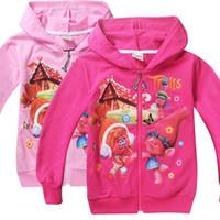 hoodies sweatshirts dhl toptan satış-DHL Trolls Haşhaş Hoodies Karikatür Uzun Kollu Fermuar Hoodies Çocuk Trolls Haşhaş Şube Kız Kazak Çocuklar Ceket Ceket Rahat Giysiler
