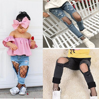 Wholesale Wholesale Nylon Mesh Netting - Fashion Kids Baby Girl's Net Pattern Pantyhose Mesh Fishnet Small Fish Net Tights Black Color 4 Styles