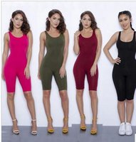 Wholesale Black Female Jumpsuit - Hot Sexy Women Short Sports Jumpsuits & Rompers Dresses Female Bodycon Black Burgundy Skinny Backless Yoga Dresses For Running Bodysuit