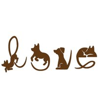 Wholesale Dog Bumpers - Wholesale 10pcs lot Various Cute Novel Poses Dogs Spell Love Car Sticker for Truck Window Bumper SUV Auto Door Laptop Animals Vinyl Decal