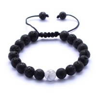Wholesale Turquoise Bead Bracelet Men - Natural Turquoise Black Lava Stone Weave Bracelets Aromatherapy Essential Oil Diffuser Bracelet For Women Men jewelry
