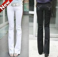 Wholesale White Boot Cut Pants - Wholesale- New Designer Brand Fashion Women White Slim Boot Cut Jeans women Skinny flare pants jeans