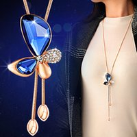 Wholesale Cute Clay Charms - New Hot Ladies Fashion charm Rose Gold Crystal Rhinestone cute Butterfly Pendant Necklace Sweater Chain Women Elegant Fine Jewelry Wedding