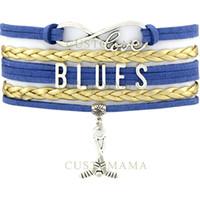 Wholesale Dropship Best - Custom-Infinity Love Hockey Team Bracelets Blues Best Gifts For Hockey Fans Blue Gold Wax & Leather Bracelets Custom Dropship