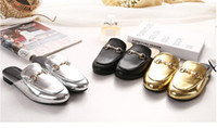 Wholesale Gold Bare - Fashion Womens Shoes Summer Sandals Flat Heels Shoe Casual Slipper Girl's Sandals Heel 2.5 cm Bare Ankle Gold Silver Black Fast Shipping