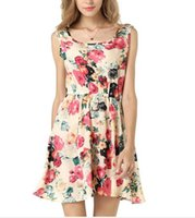 Wholesale Dresses Jumper Skirt Sexy - Ladies Relaxation Colorful Sexy Sleeveless Textile Printing Chiffon One-piece Dress Inflorescence Jumper Skirt Beautiful Charming Figure