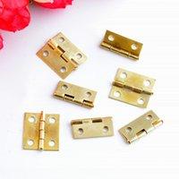золото встык оптовых-Оптовое - свободная перевозка груза 100pcs золото Tone Оборудование 4 отверстия DIY Box Butt дверные петли (не включая винты) 18x15mm J3157