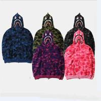 Wholesale Hot Men S Hoodies Slim - hot sale Men's Fleece Jacket Brand Designer Sweatshirts Hoodies Full Zipper Camouflage Army Military Sweater Men Camo Caucal Sport