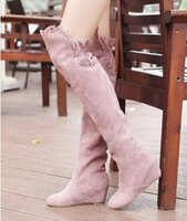 Venda Por Atacado New Arrival Hot Sale Specials Afluxo Sweet Girl Warm Sexy Suede Ruffles Retro Aumentou Tall Canister Stovepipe Knee Boots EU34-43