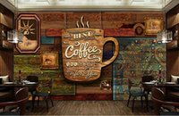 Wholesale Custom food store wallpaper Wood pattern coffee D retro mural for the restaurant cafe hotel background wall PVC wallpaper