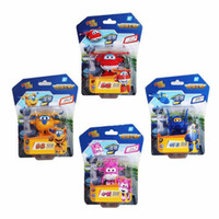 Wholesale Super Airplane Action Figures - 4PCS Super Wings Action Figure Toys Mini Airplane Robot Transformation Anime Cartoon Toy For Children Gift
