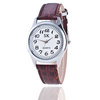 Wholesale Big Strap Leather Watch - Free shipping wholesale price big shop watches Foreign trade tong digital ms old man watch strap watch lovers watches sell like hot cakes