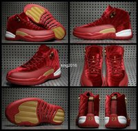 Wholesale Gold Velvet Sport - 2017 Red Gold Velvet Heiress 12 XII Mens Basketball Shoes High Cut Wool Suede Sneakers 12s Trainers Athletics Man Sport Shoe Size 8-13