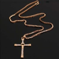 Wholesale Cross Couple Necklaces - High Quality Furious 7 with section Alloy Diamond cross necklace with box chains clavicle domineering male and female couple pendant jewelry