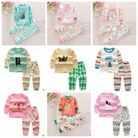 Wholesale Toddler Boy Striped Pants - Baby Clothing Sets Boy Cartoon Print Suits Girl T Shirts Pants Kids Striped Dot Tops Shorts Casual Toddler Bear Princess Cotton Outwears H37