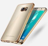 samsung s6 açık mobil kutu toptan satış-Lüks Ultra İnce Şeffaf Kauçuk Galvanik TPU Yumuşak Cep Telefonu Kılıfı Için Samsung Galaxy S7 S6 kenar artı