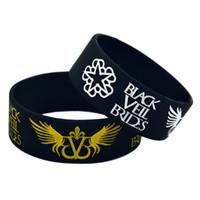 "Wholesale Black Fan Veils - Hot Sell 1PC 1"" Wide Band Black Veil Brides With Angel Wings Silicone Wristband Bracelet For Music Fans"
