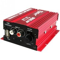 Wholesale Mini Motorcycles Red - Hi-Fi Mini Portable Car Motorcycle Stereo Loudspeaker Box 12V 20W Car Audio Amplifier Player For MP3 USB Red