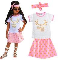 Wholesale Deer Bow Shirt Girls - Summer Girl Clothing Sets Letter Hello Deer T Shirt+Polka Dot Skirt+Bow Headband 3pcs Baby Clothes 2017 Cartoon Antlers Kids Clothing Set
