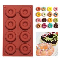 Wholesale Muffin Baking Pans - 1PCS 8 18-Cavity Diy Donut Shape Round Muffin Sweet Candy Jelly Fondant Cake Chocolate Mold Silicone Tool Baking Pan