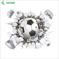 PVC sports vinyl stickers - 3D Football Soccer Playground Broken Wall Hole Window View Home Decals Wall Sticker for Boys Room Sports Decor Mural