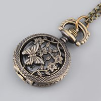 Wholesale Sweater Necklace Hollow Butterfly - Wholesale-Vintage Fashion Butterfly and Flower Hollow Out Cover Quartz Pocket Watch Sweater Chain Necklace Top
