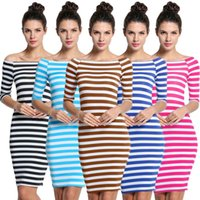 Wholesale Sexy Dresses For Womens - 2017 Dresses for womens striped ladies fashion slim fix boho dresses Half Sleeve Knee Length Casual Off the Shoulder Pencil Dresses LYQ57 RF