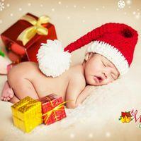 neugeborener wollmütze für mädchen großhandel-Neugeborenen Fotografie Requisiten Baby Mädchen Jungen Wolle Weihnachten Hut Winter Hüte Jungen Mädchen Nettes Geschenk