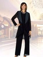 Wholesale three piece suit cheap - New Black Chiffon Mother of the Bride Suits Plus Size Cheap Three Pieces Mother of Bride Groom Pant Suit for Wedding Pant Suit