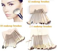 Wholesale 18 Pcs Professional Brushes Set - 12 18 24 Pcs Professional Makeup Brushes Set Soft Synthetic Make Up Brush Eyeshadow EyBlush Eyeshadow Brush Set with Leather Bag