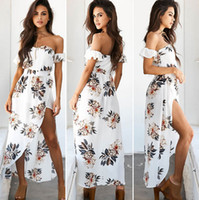 Wholesale Strapless Clubwear Dresses - Casual Long Beach Hippie Boho Dress Strapless Bandeau Slash Neck Print Floral Bohemian Cocktail Party Evening Dresses Sundress Clubwear