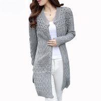 Wholesale Korean Ladies Sweater - Wholesale- Hot Sale New Brand Sweater For Women Fashion Knitted Cardigans Korean Style Ladies Long Knitted Sweater Dames Kleding Knitwear