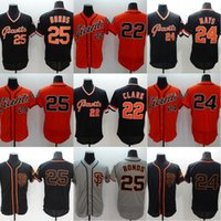 Wholesale Barry Bonds Giants Jersey - Throwback Baseball Jerseys #25 Barry Bonds #24 Willie Mays #22 Clark Men SF Giants All Stitched Embroidery Flexbase Jersey