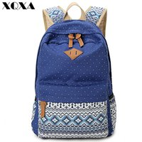 Wholesale canvas dots backpacks for girls - XQXA Vintage Girl School Bags For Teenagers Cute Dot Printing Canvas Women Backpack Mochila Feminina Casual Bag School Backpack