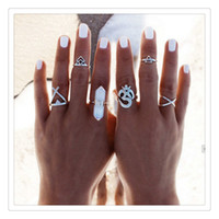Atacado Finger Nail Rings Retro Exagerados Cross Adjustable Finger Rings Set Knuckle para mulheres Wedding Supplies BestGift Free DHL